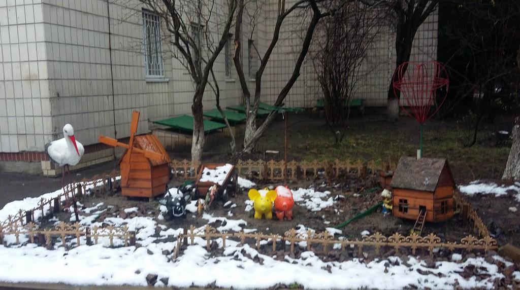 Во дворе интерната зимой
